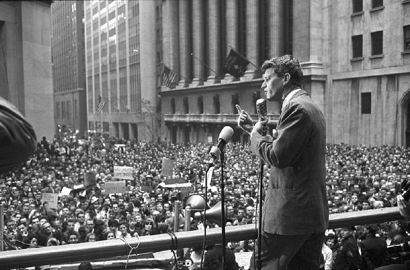 Robert Kennedy addressing a crowd in New York City.